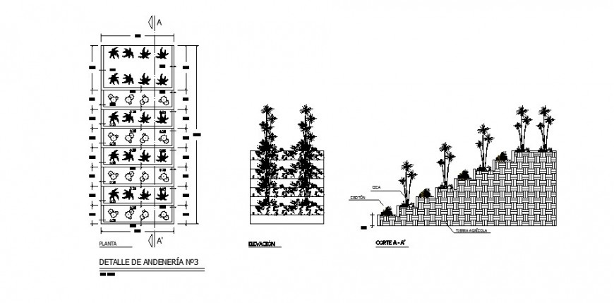 Plantation and garden pedestrian walk and landscaping structure for hotel building dwg file