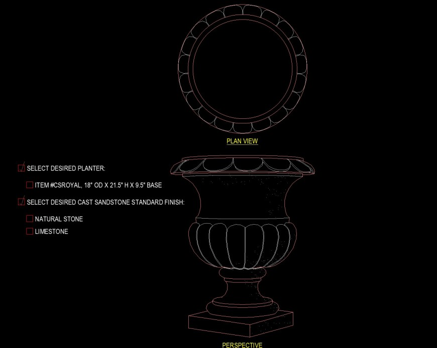 Planter with stand drawing in dwg file.
