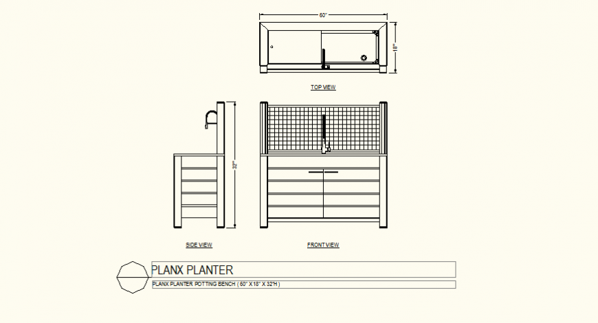 Planx planter potting bench detail plan and elevation autocad file