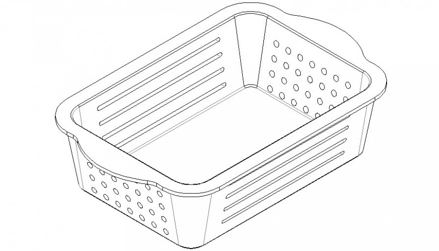Plastic basket detail drawing in AutoCAD file.