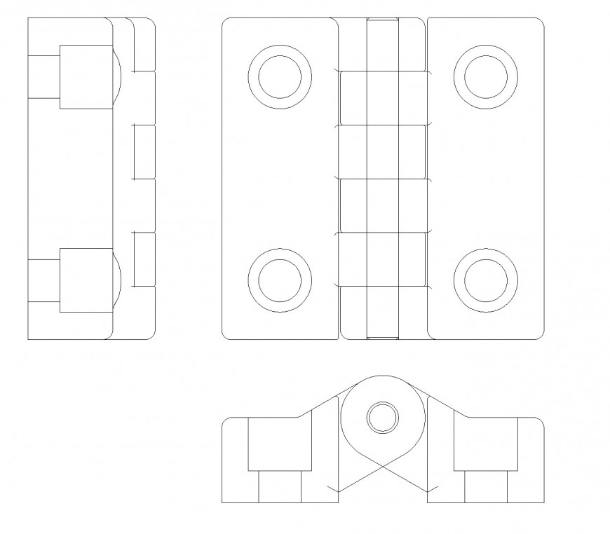Plastic hinge plan and section autocad file