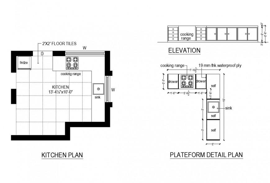 Platform detail plan of a kitchen plan dwg file