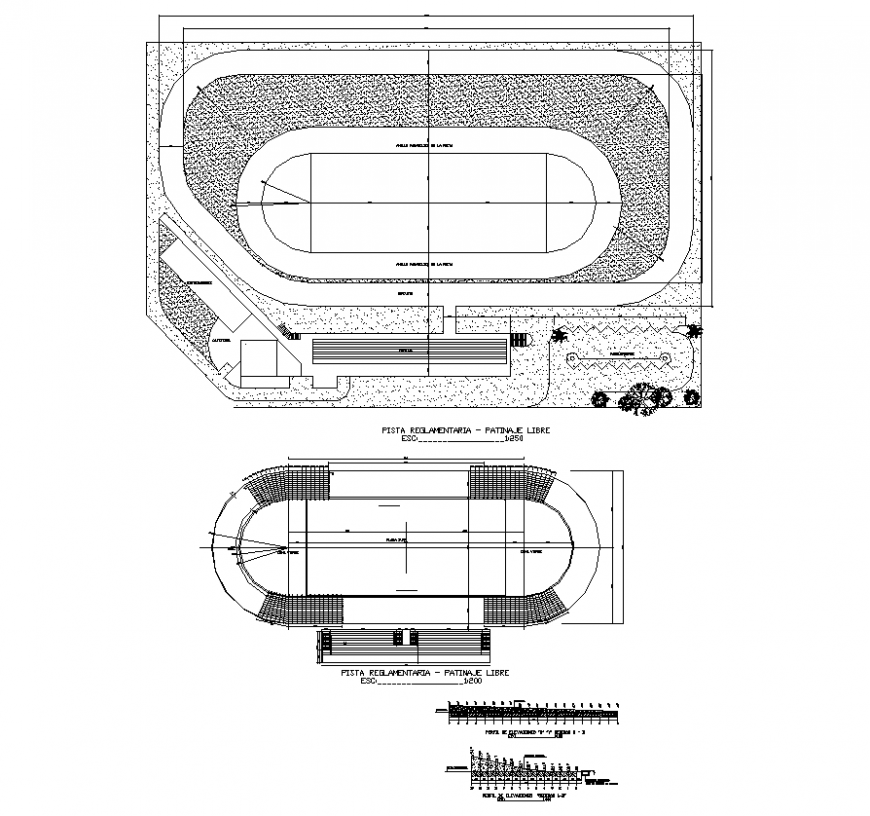 Play-ground stadium structure detail 2d view layout plan in dwg format