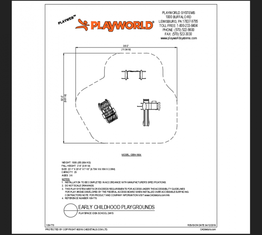 Play-space climber type play area equipment details of school park dwg file