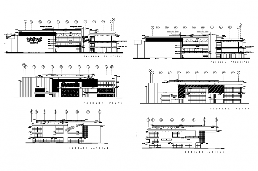 Play-zone building structure detail elevation 2d view layout dwg file