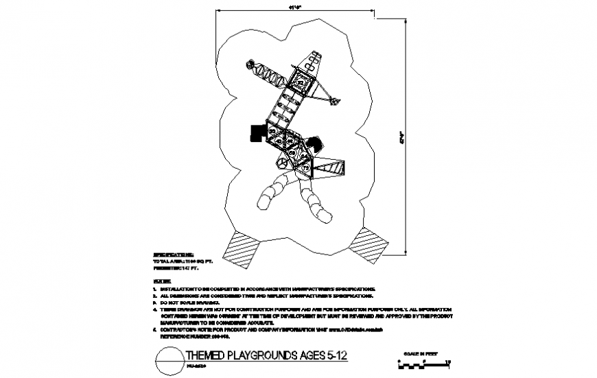 Play area system design with themed playground plan dwg file