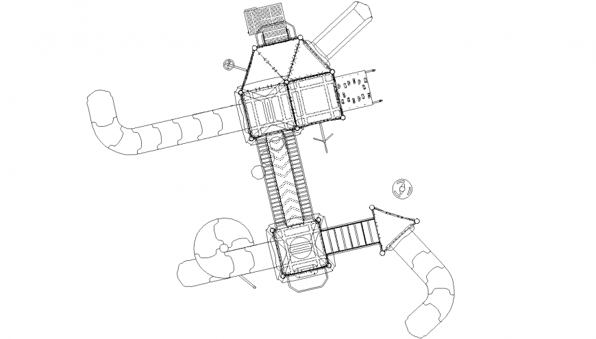 Play ground equipment detail drawing in dwg AutoCAD file.