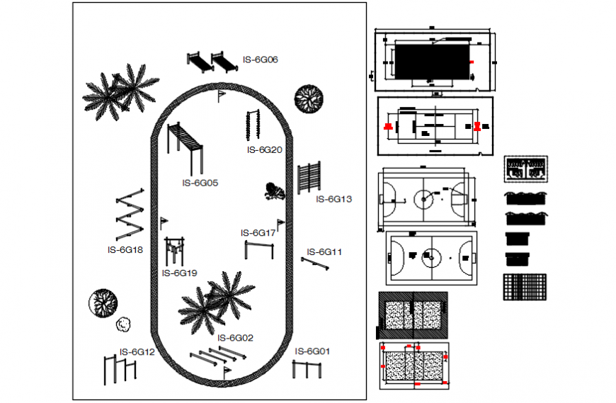 Play ground landscaping structure and equipment details dwg file