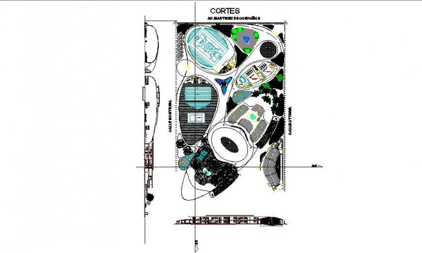 Play ground plan and sectional elevation detail drawing in AutoCAD file.