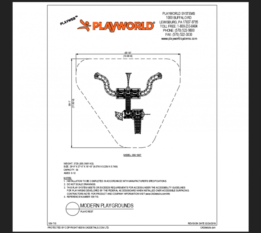 Play rest the,ed park modern play ground play area structure details dwg file
