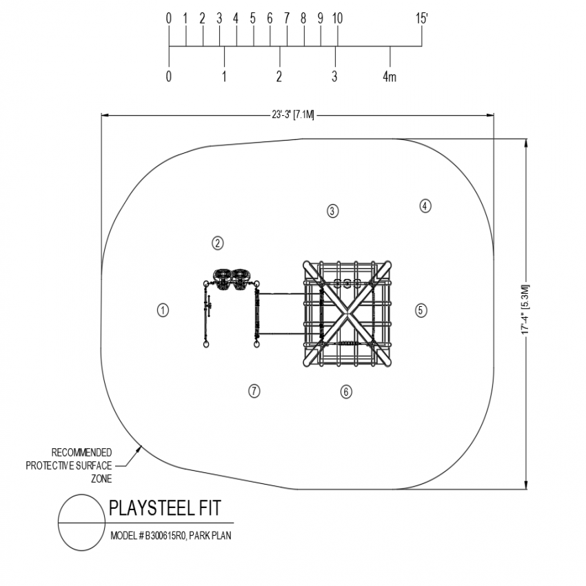 Play steel fit park plan with playing area dwg file