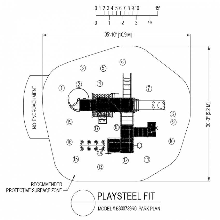 Play steel fit park plan with recommended protective surface area dwg file