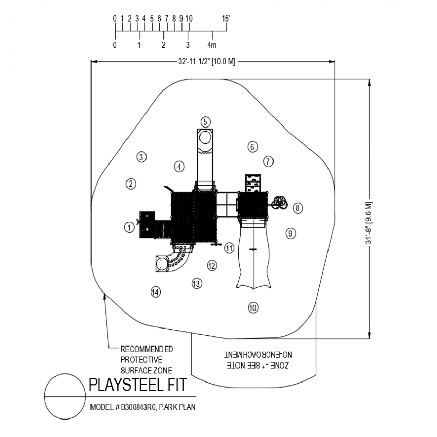 Play steel fit park playing plan dwg file