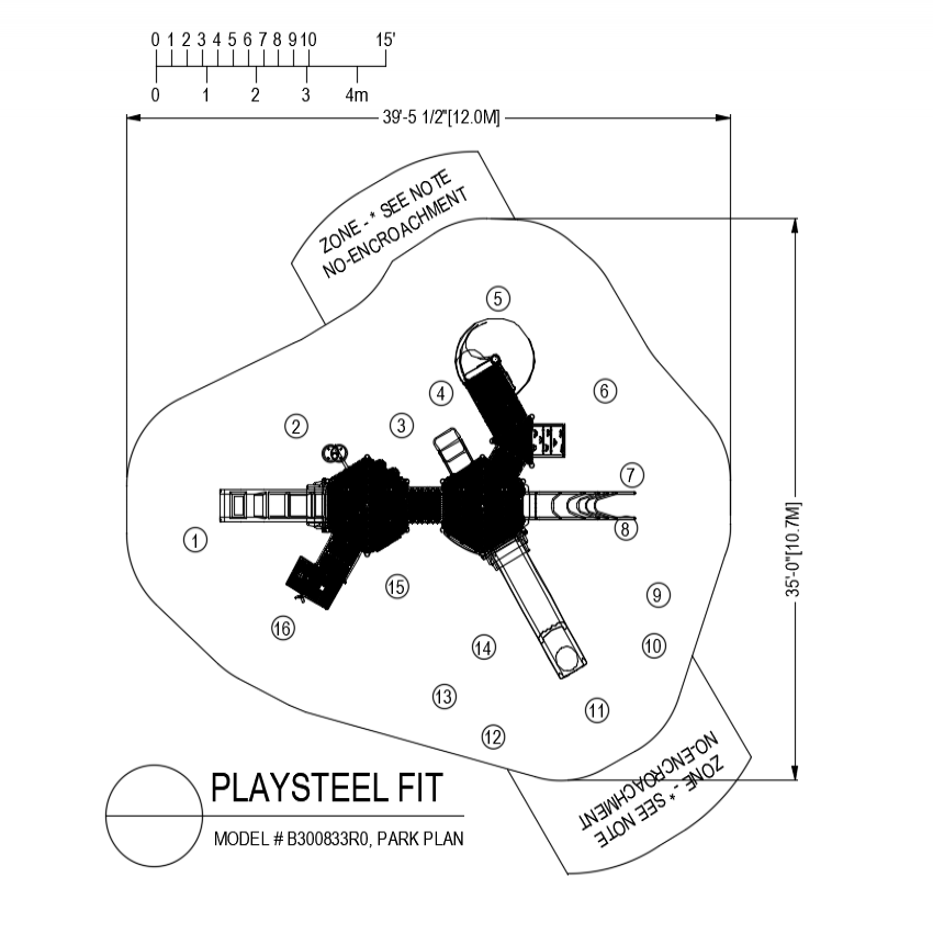 Play steel fit plan for park of playing dwg file