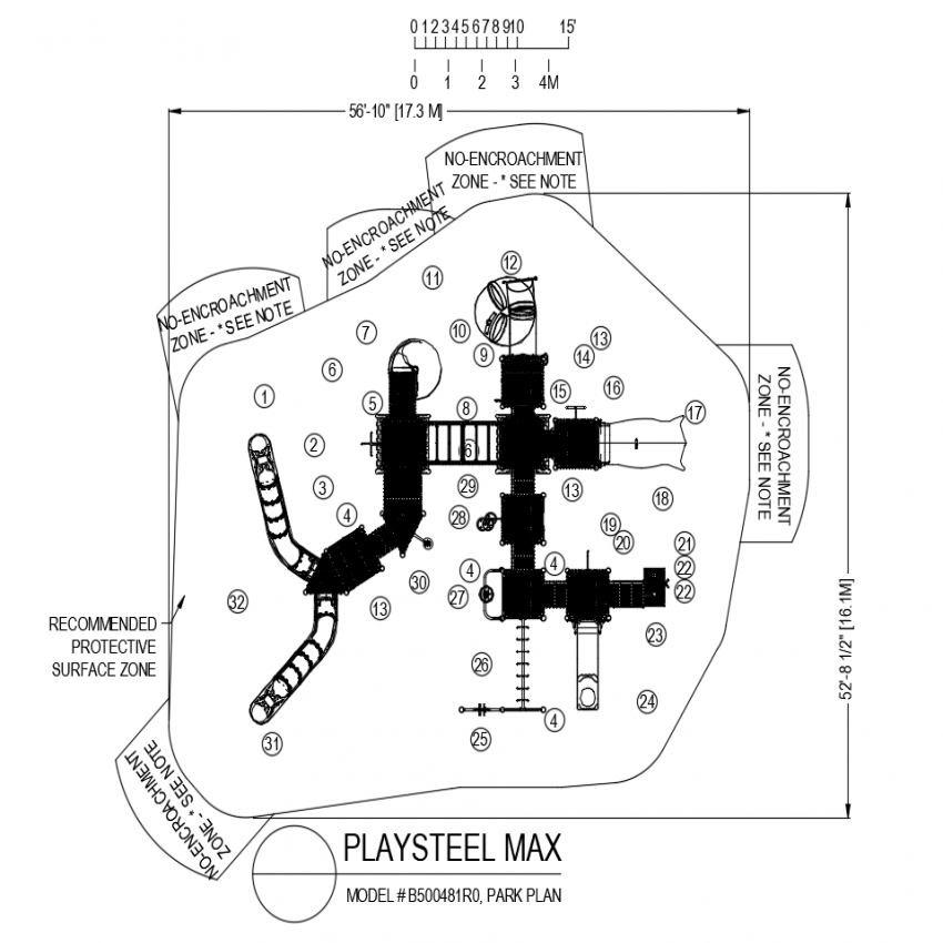 Play steel max park plan with steel frame area dwg file