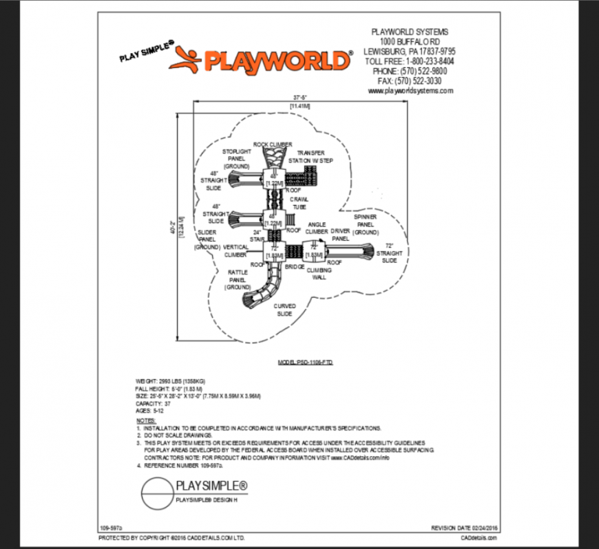 Play world system children theme park structure plan details dwg file