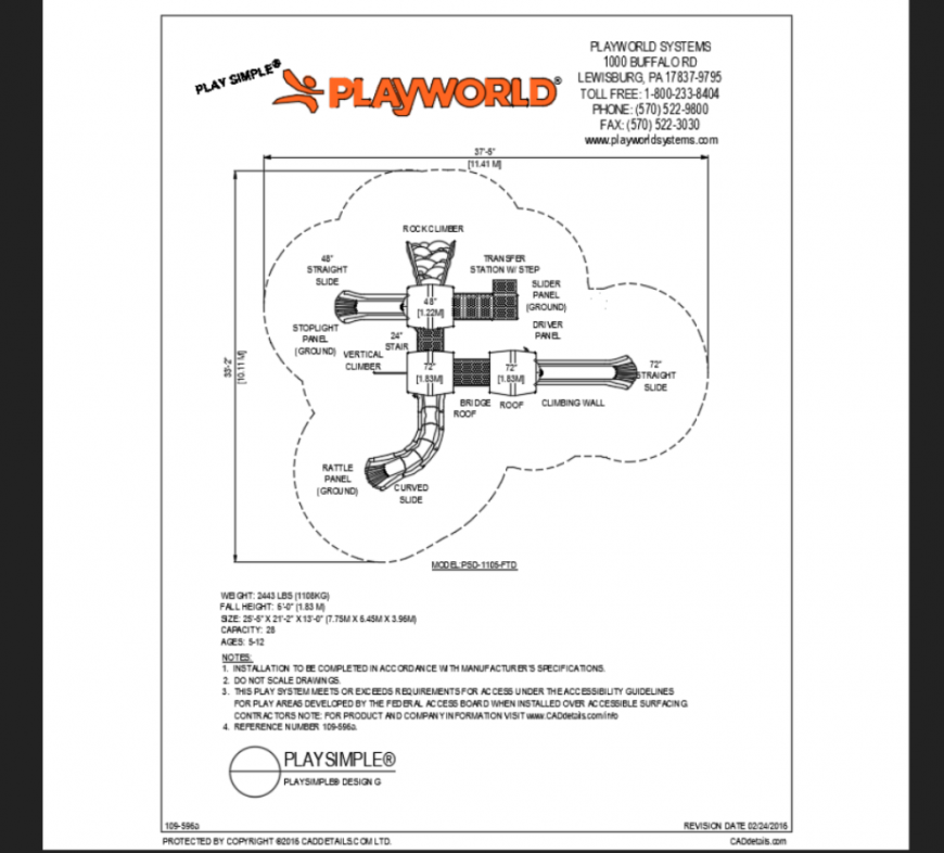 Play world theme park for age group 5 to 12 structure plan details dwg file