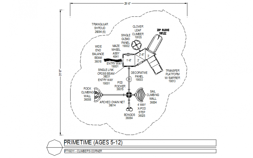 Playing area with prime time plan dwg file