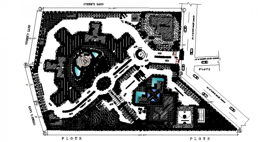 Plot area drawings with landscaping details in autocad