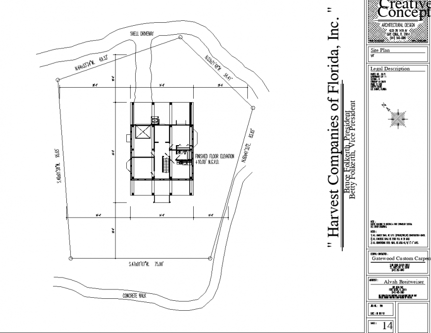 Plot marking drawing with detail in dwg file.