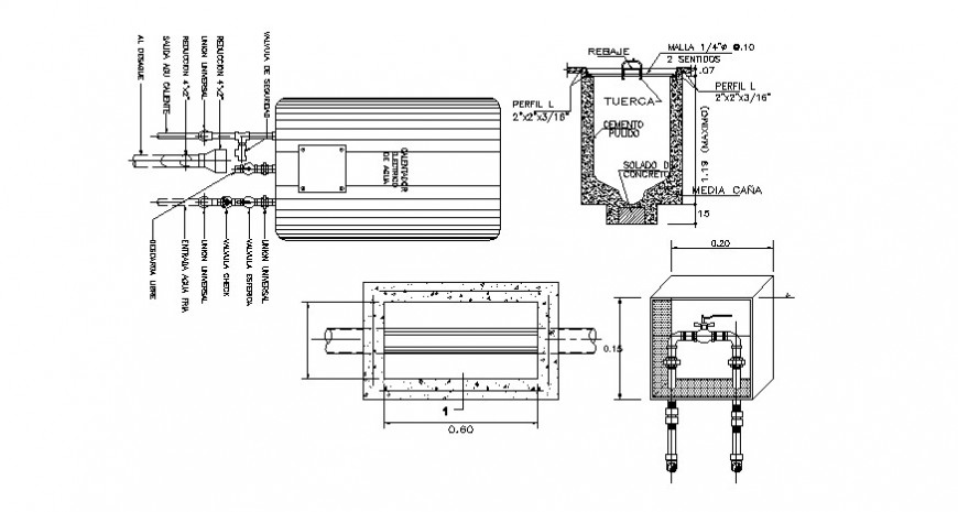 Plumbing area and view of water line in AutoCAD file