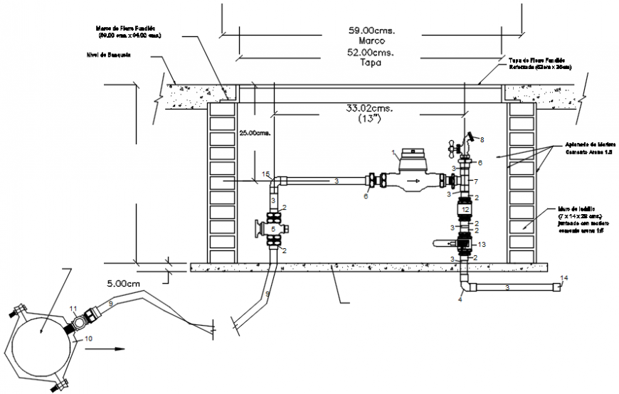 Plumbing detail and wall support in AutoCAD file