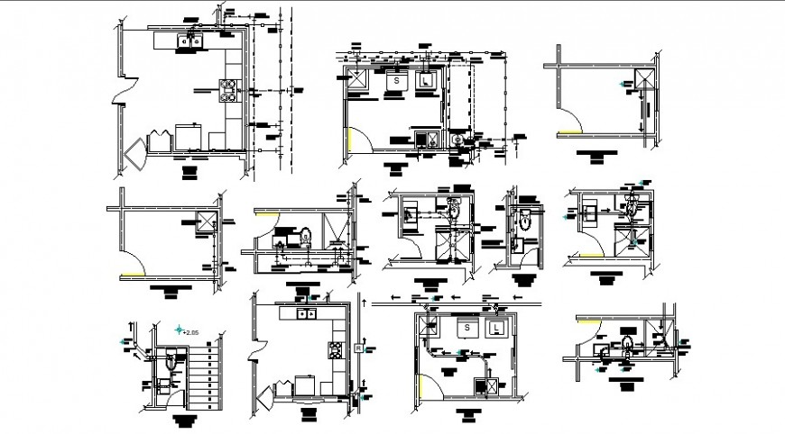 Plumbing hot and cold water line with its single line of sanitary in auto cad