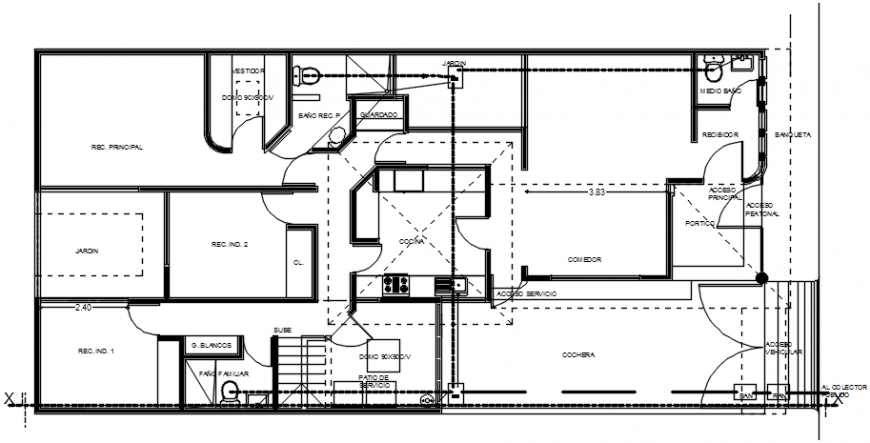 Plumbing plan of a residential house dwg