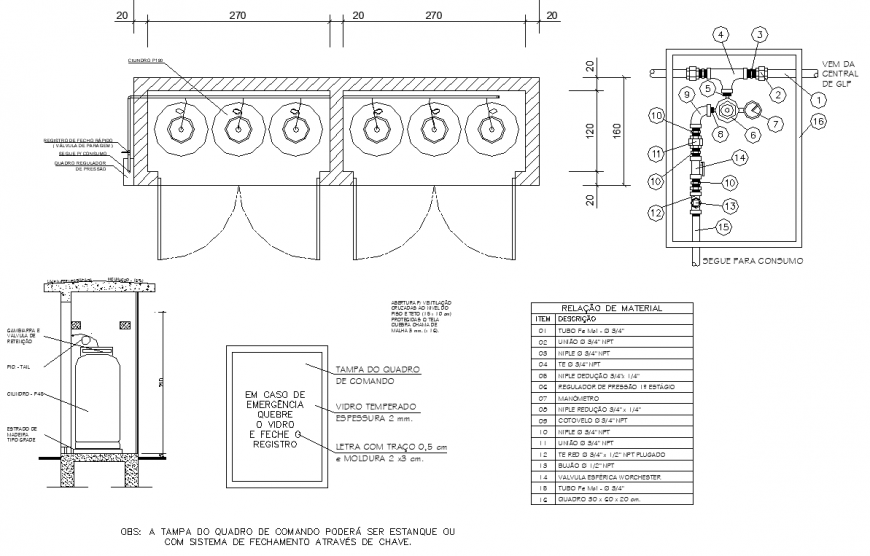 Plumbing unit plan and elevation detail autocad file