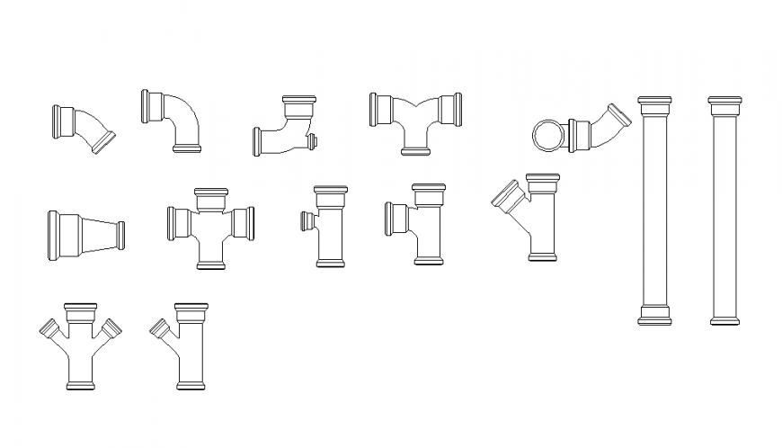Plumbing units detail 2d view layout dwg file