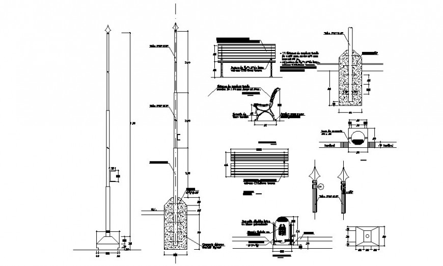 Pole and bench detail 2d drawing autocad file