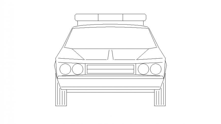 Police car front elevation block cad drawing details dwg file