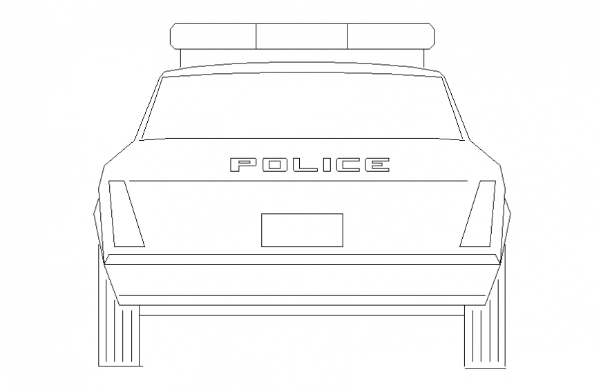 Police car front view elevation block cad drawing details dwg file