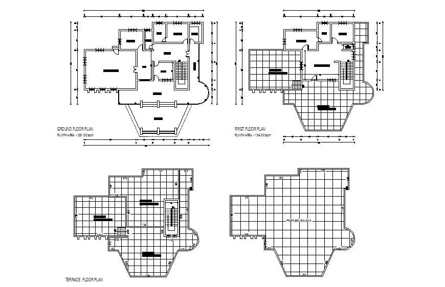 Police residential club house ground, first and terrace floor plan layout details dwg file