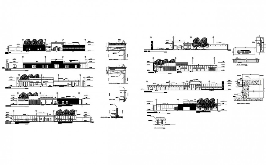 Poly clinic hospital building all sided elevation and section details dwg file