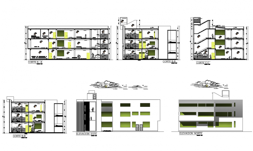 Poly Technic multi-level college building all sided elevation and section drawing details dwg file