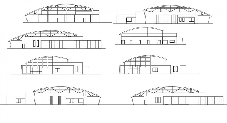 Polyclinic all sided elevation cad drawing details dwg file