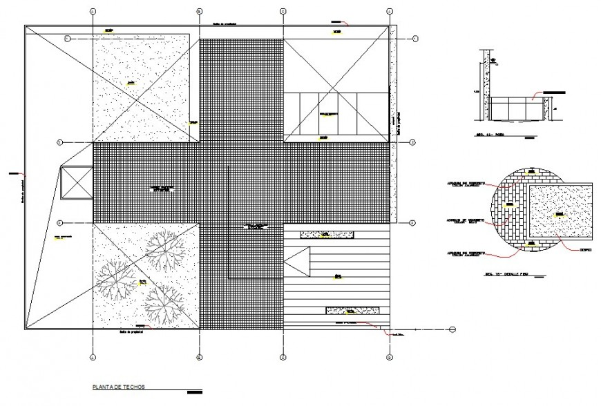 Polyclinic roof detail dwg AutoCAD file.