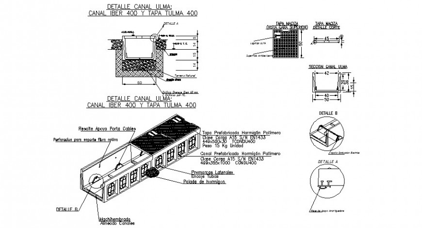Polymer concrete work details drawings 2d view autocad file