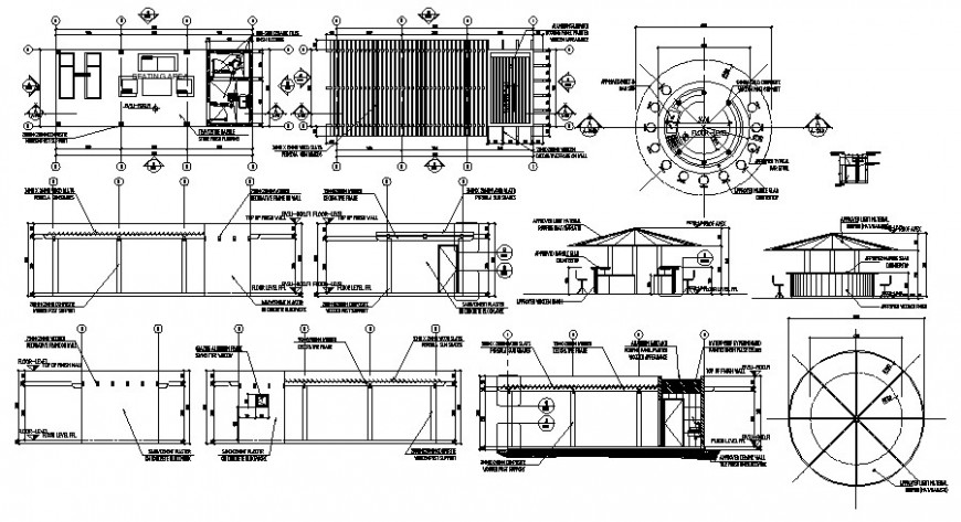 Pool house elevation, section and plan drawing details dwg file
