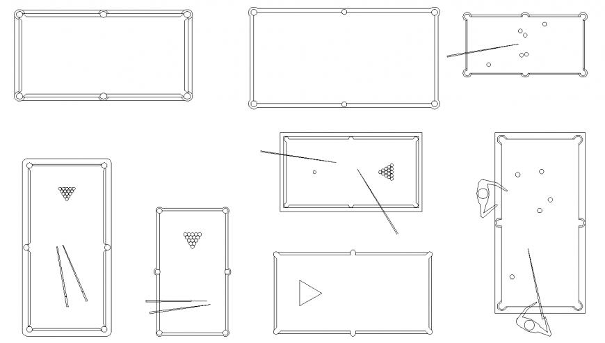 Pool table detail elevation CAD blocks AutoCAD file