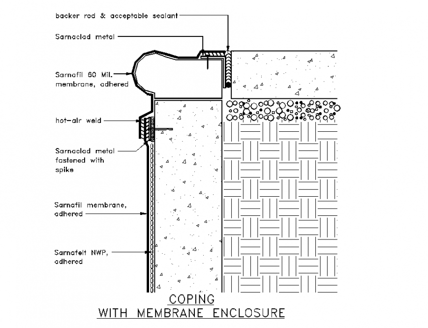 Pools membrane placement detail of superior border section detail dwg file