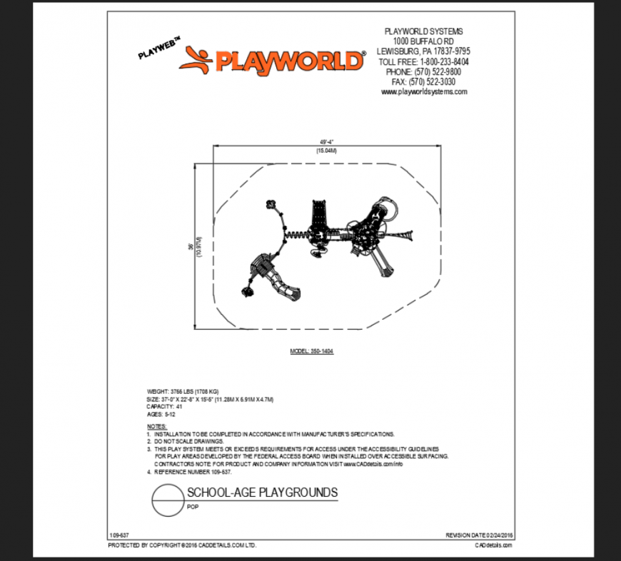 Pop school age group play area play equipment model details dwg file