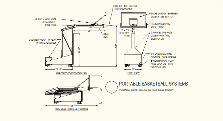 Portable basket system detail plan and elevation autocad file