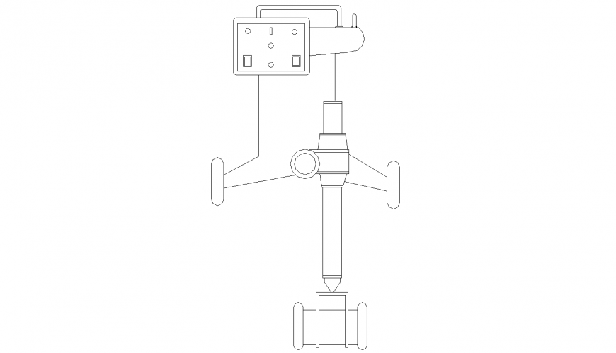 Portable X ray machine drawing in dwg AutoCAD file.