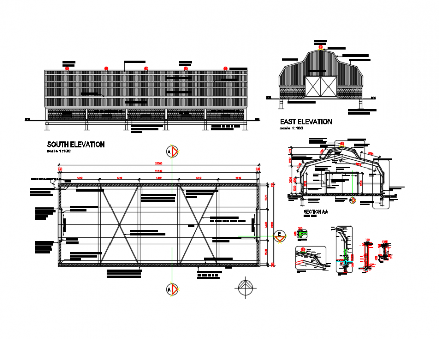Portal business firm elevation, section and ground floor plan details dwg file