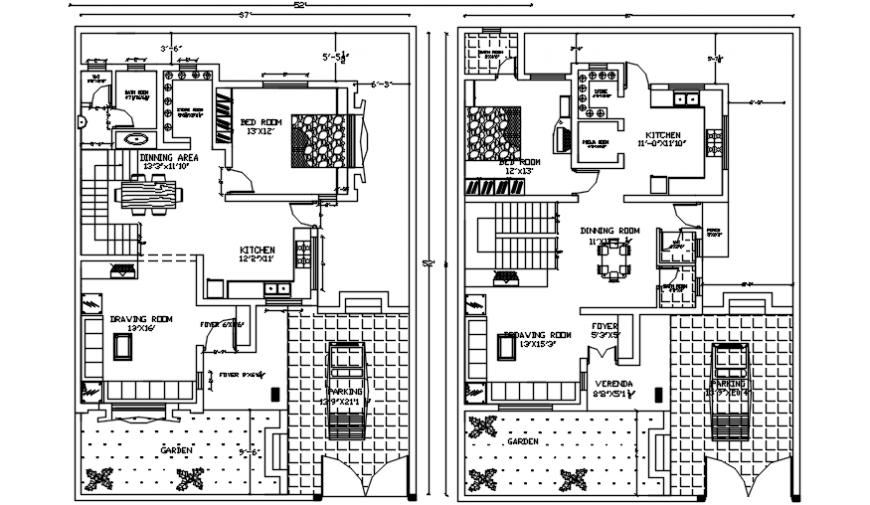 Posh 2d concept of bungalow interior plan view