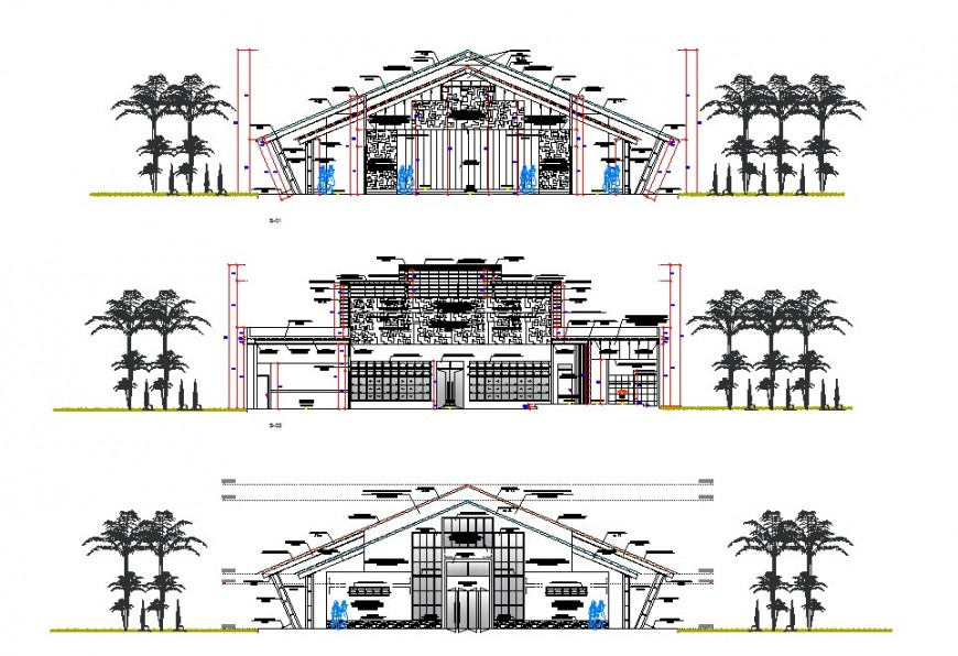 Posh building 2d elevation model detail