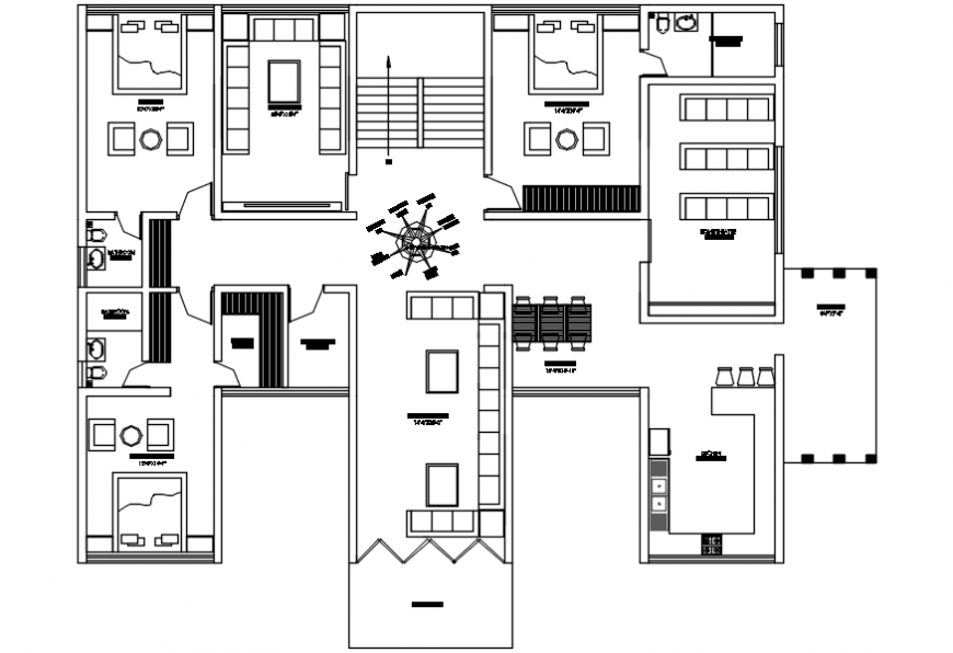 Posh villa top view furniture plan