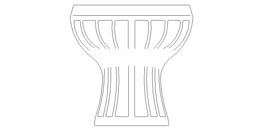 Pot style sitting table drawing in dwg file.